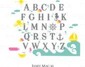 Nautical Alphabet Wall Decal Sticker - Under the Sea Vinyl Waves Ocean Octopus Whales Sailboat Seahorse - Vinyl Alphabet Decal - CL112