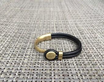Brass Button Half Cuff Bracelet