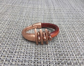 Copper 10mm Half Cuff & Leather Bracelet