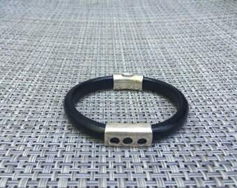 Men's leather Three Hole Bracelet