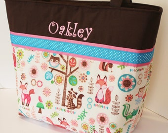 Personalized Diaper Bag . Little Fox Turquoise & Pink. Weekender / XL size . monogrammed FREE . girl diaper bag . fox diaper bag . girl bag
