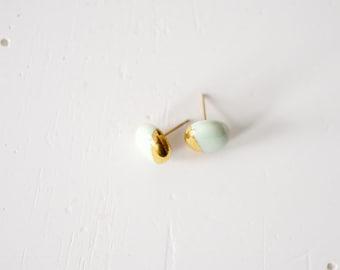 22k Gold Dipped Studs - Mint Stud Earrings, 14k gold filled posts, Sensitive Ears
