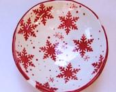 Red & White Scandinavian snowflakes pottery w/ polka-dots :) Rice Bowl, soap dish, candleholder, holiday decor