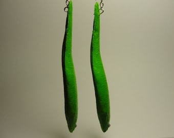 Green Electric Eel Earrings