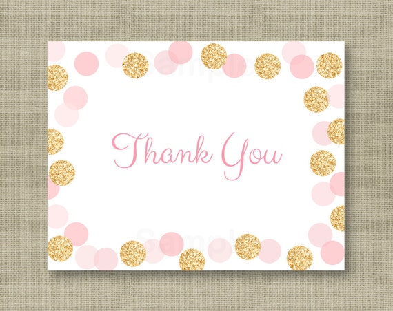 glitter thank you card glitter baby shower pink gold glitter