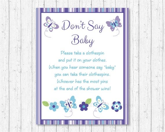 butterfly don 39 t say baby baby shower game butterfly baby shower