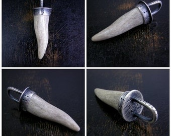 Made to order deer antler sterling silver pendant, simple style, antique rustic oxidized finish