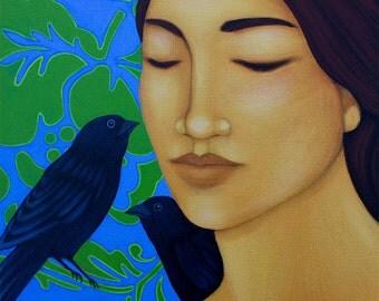 Original Acrylic Folk Art Painting - Portrait with Blackbirds - Wall Art Home Decor by Tamara Adams