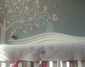 Personalized Crib rail cover - made to match baby's nursery - birdcage and butterflies nursery theme - pink and gray