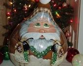 Hand Painted Santa Gourd and Primitive Sheep - Folk Art- Primitive Christmas Gourd -Home Decor - Holiday Decor - Gourds - Original Design