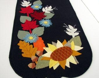 "Large 15"" x 52"" ""AUTUMN GLORY"" Hand Stitched - Wool Felt Applique Table Runner - Fall Decor - Home Decor - Fiber Art - Folk Art Table Mat"