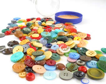Vintage Button Collection • Colorful Lot of Vintage Buttons • Red Yellow Green