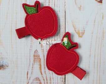 Apple Clip - Felt Apple Clips - Felt Clips - Fall Clips - Embroidered Clip - Monogrammed Clip - Made to Order