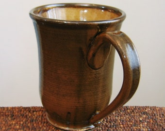Beer Stein - Large Pottery Coffee Mug - Earthy Chocolate Brown Huge Stoneware Ceramic Cup 18 oz.