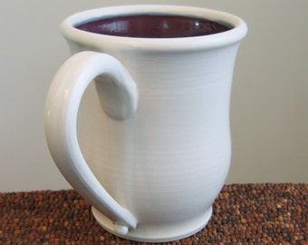 Large Coffee Mug in Plum Purple 16 oz. Stoneware Ceramic Pottery Mug