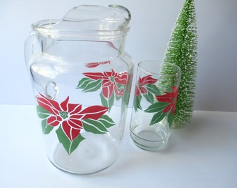 Vintage Christmas Red Green Poinsettia Glass Pitcher and Tumbler