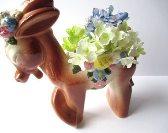 Large Vintage Ceramic Donkey Planter - So Kitsch