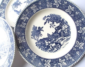 Vintage Homer Laughlin Stratwood Shakespeare Country Blue and White Dinner Plates Set of Three