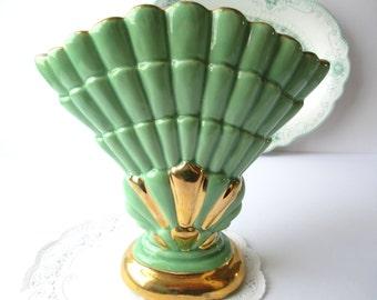 Vintage Fan Vase Seafoam Green Gold  - Cottage Chic