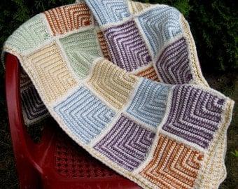Crochet Afghan Pattern Mitered Squares Crochet Blanket Kids Afghan Throw Digital Download