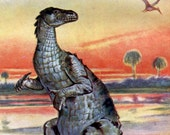 Iguanodon Dinosaurs Pterodactyl Cretaceous Age Vintage  Illustration