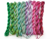 Hand dyed cotton embroidery thread, 10 mini-skeins, emerald, green, teal, sage, mauve, pink, purple, space dyed threads, floss, perle yarns