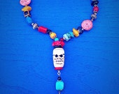 Chunky Multicolor Tribal Shaman's Day of the Dead Necklace