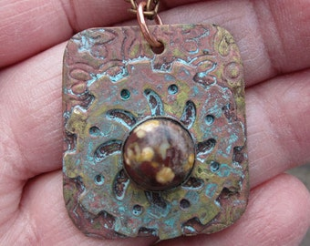 Mixed Metal and Jasper Steam Punk Necklace