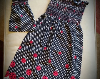 Little girls smocked ladybug sundress with matching doll dress set