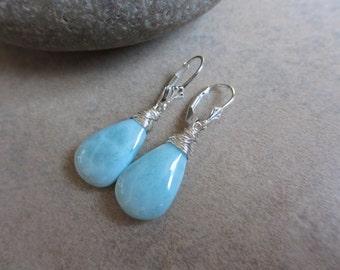 Larimar Earrings, Sterling Silver, Wire Wrapped, Long, Smooth Briolette, Blue Earrings, Irisjewelrydesign