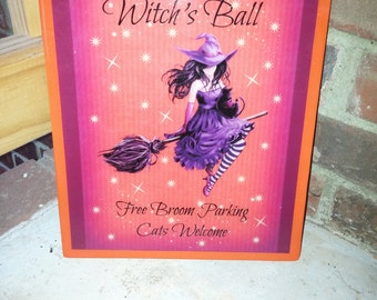 The Annual Witch's Ball, Halloween Sign, Halloween Decor, Witch, Fall Decor, Fall Sign, Witch Sign, Black Cat