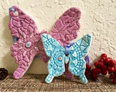 Ceramic Butterfly Lace Crochet Ornament Collection Christmas Set Colorful Pastel Holiday Decor