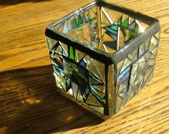 Recycled Candle Holder Spring. 3 inch mosaic Square with Spikes. Up cycled. Stained glass scrap. Forest Dreams. Greens, Multi color, Golds