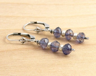 Blue Iolite Gemstone Earrings, Stacked Blue Gemstones, Ethnic Silver Beads, Faceted Iolite, Lever Back Ear Wires, #4639