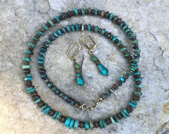 Natural turquoise necklace, antiqued brass and turquoise boho necklace, natural turquoise earrings, turquoise necklace and earrings set