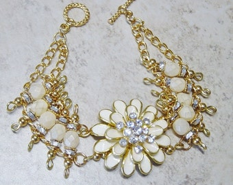 Flower Bracelet, Ivory Bead Gold Ladder Bracelet, Gold Bracelet,Rhinestones, Boho, Ivory Enamel Flower, Beaded Chain Bracelet