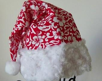 Tropical Santa Hat, Red &White Hibiscus Floral Print Fabric,Christmas, Luau Santa Hat, Hawaiian Santa Hat, Tropical Holiday Hat