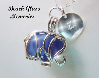 Personalized Elephant Locket Necklace Sea Glass Beach Glass Seaglass Eco Friendly Jewelry