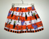 Grinch and The Cat in the Hat meet Horton on this Halloween Girls skirt