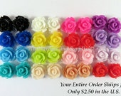 32 Rose Flower Cabochon Beads Resin Bead 10mm Assortment - No Holes - 32 pc - CA2006-AS32