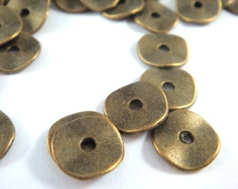 20 Flat Wavy Disk Spacer Bead Antique Bronze Donut Bead 10x1mm LF/CF/NF - 20 pc - M7028-AB20