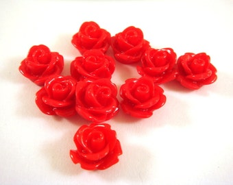 10 Red Flower Cabochon Rose Resin Bead 10mm - No Holes - 10 pc - CA2006-R10 - Select Qty