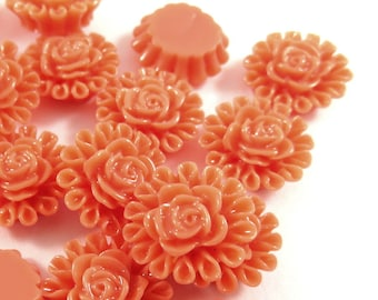 SALE - 25 Orange Resin Cabochon Beads Flower Bead 13mm - No Holes - 25 pc - CA2012-O25