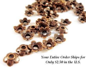 60 Antique Copper Bead Cap Flower Tibetan Silver 6.5mm LF/CF - 60 pc - F4124BC-AC60