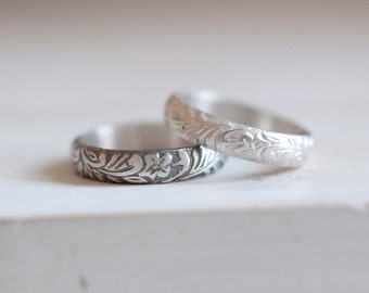 Antique ring. Sterling silver ring with antique flowers pattern. Old pattern, silver ring, wedding band, stacking ring, vintage style.