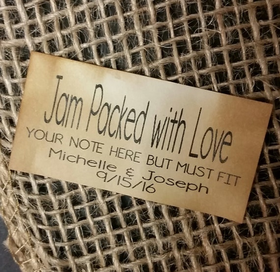 Jam Packed with Love Personalized Wedding Shower Favor 1x 2 STICKER choose your amount