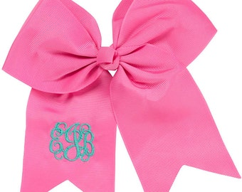 Monogram Hairbow, Personalized Hairbow, Hot Pink Hairbow, Embroidered Hair Bow, Preppy Hairbow