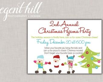 Printable Christmas Pajama Party Invitation // Holiday Pajama Party