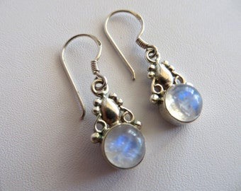 Moonstone & Sterling Silver Drop Earrings