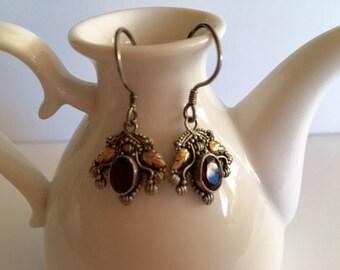 Bali Silver & Gold Earrings-Drop Earrings With Garnet